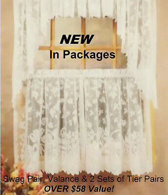 White Lace Cafe Kitchen Curtain Window Tiers Valance & Swag Set New In  Packages | Ebay Intended For White Knit Lace Bird Motif Window Curtain Tiers (View 46 of 50)