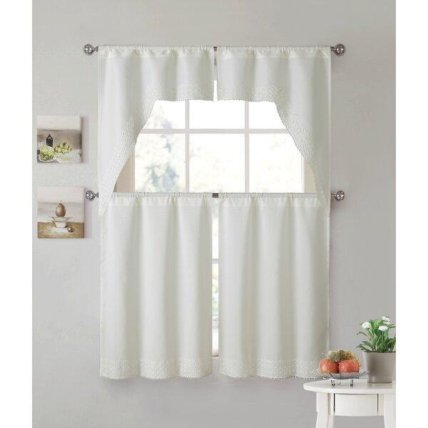 White Lace Kitchen Curtains   Wayfair Regarding Elegant White Priscilla Lace Kitchen Curtain Pieces (View 29 of 30)
