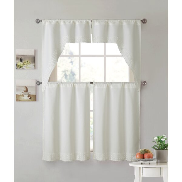 White Lace Kitchen Curtains | Wayfair Regarding Sheer Lace Elongated Kitchen Curtain Tier Pairs (#30 of 30)