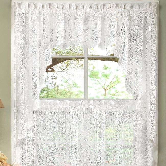 White Lace Luxurious Old World Style Kitchen Curtains Tiers For Kitchen Curtain Tiers (View 36 of 50)