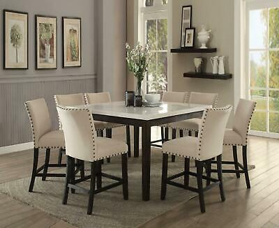 White Marble Top Black Round Dining Table Set 5 Pcs Acme For 2020 Nolan Round Pedestal Dining Tables (#29 of 30)