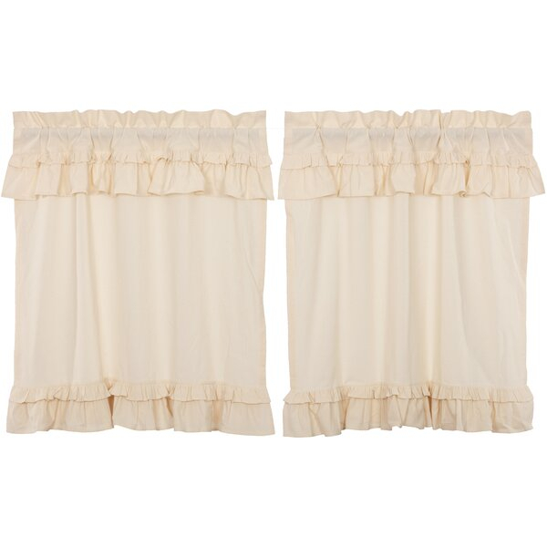White Muslin Cafe Curtains | Wayfair For Navy Vertical Ruffled Waterfall Valance And Curtain Tiers (View 22 of 30)