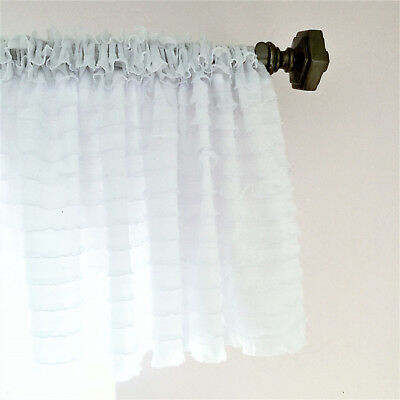 White Ruffle Valance Sheer Extra Wide Window Treatment – Nursery, Kitchen | Ebay For Navy Vertical Ruffled Waterfall Valance And Curtain Tiers (View 12 of 30)