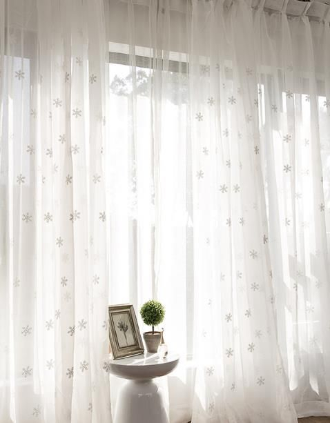 White See Through Sheer Curtains Snowflake Girls Bedroom With Marine Life Motif Knitted Lace Window Curtain Pieces (#48 of 48)