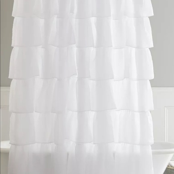 White Shabby Chic Shower Curtain In Elegant Crushed Voile Ruffle Window Curtain Pieces (View 44 of 45)