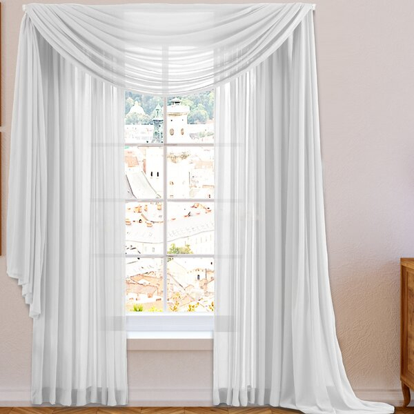 White Sheer Valance | Wayfair Pertaining To Modern Subtle Texture Solid White Kitchen Curtain Parts With Grommets Tier And Valance Options (View 48 of 50)