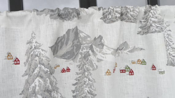 White Valance. Christmas Tree Forest & Scandinavian Winter. Kitchen Linen  Curtains (View 29 of 30)