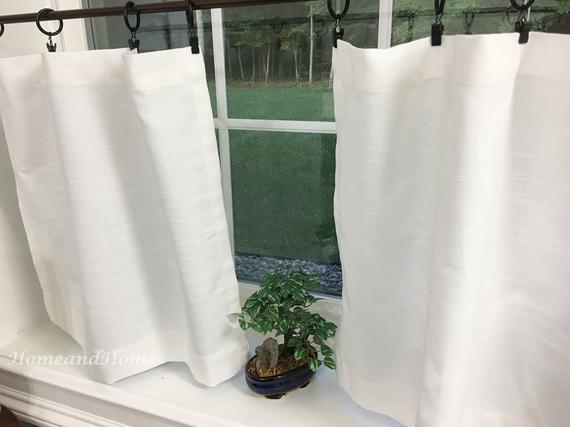 White Valance. White Cafe Curtains. Slub Linen Look Tiers Kitchen Curtain.  Kitchen Valance (View 29 of 30)