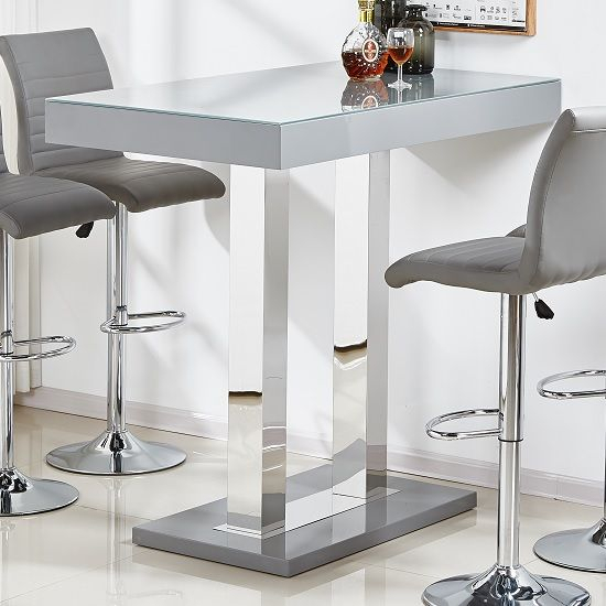 Widely Used Hearst Bar Tables With Regard To Caprice Glass Bar Table In Grey And Stainless Steel Support (View 8 of 20)