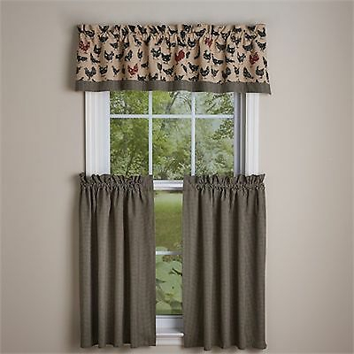 "Window Curtain Tier Pair 36"" – Hen Peckedpark Designs – Farmhouse  Rooster 762242233454 