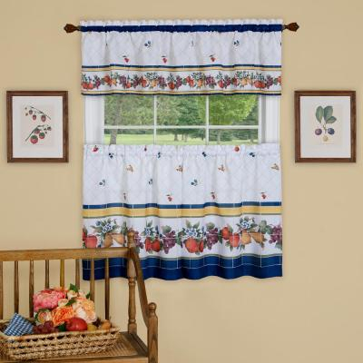 Window Elements Semi Opaque Apple Time Embroidered 3 Piece Pertaining To Embroidered Chef Black 5 Piece Kitchen Curtain Sets (View 41 of 42)