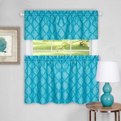Window Elements Sheer Happy Chef Embroidered 3 Piece Kitchen In Semi Sheer Rod Pocket Kitchen Curtain Valance And Tiers Sets (View 40 of 50)