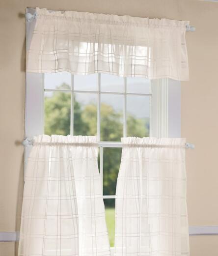 Window Pane Sheer Tailored Valance – Country Curtains With Tailored Valance And Tier Curtains (View 49 of 50)