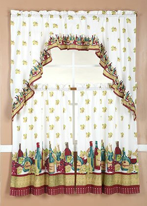 Wine Kitchen Curtains | Wayfair Regarding Chateau Wines Cottage Kitchen Curtain Tier And Valance Sets (View 28 of 30)