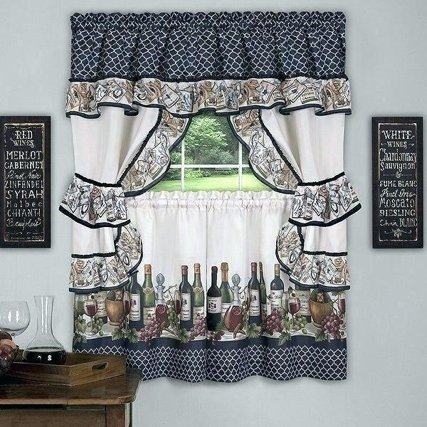 Winsome 3 Piece Kitchen Curtain Sets Kitchenaid Mixer In Scroll Leaf 3 Piece Curtain Tier And Valance Sets (View 13 of 50)
