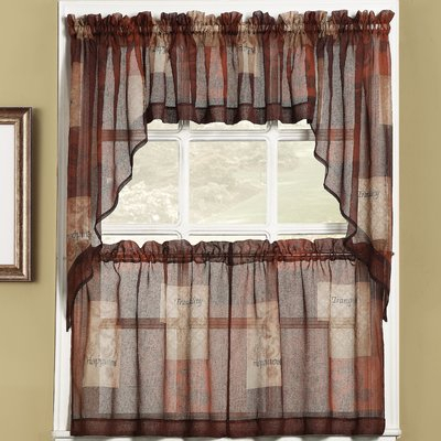 Winston Porter Bigelow Cafe Curtains Color: Multi, Size: 36 Throughout Bermuda Ruffle Kitchen Curtain Tier Sets (View 49 of 50)