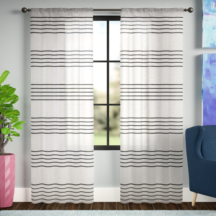 Winterbourne Down Striped Sheer Rod Pocket Curtain Panels Throughout Linen Stripe Rod Pocket Sheer Kitchen Tier Sets (#46 of 46)