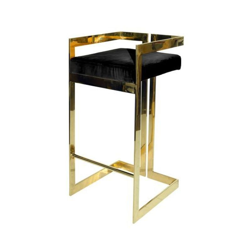 Worlds Away Hearst Bar Stool In Brass And Black Velvet With Regard To Trendy Hearst Bar Tables (View 3 of 20)