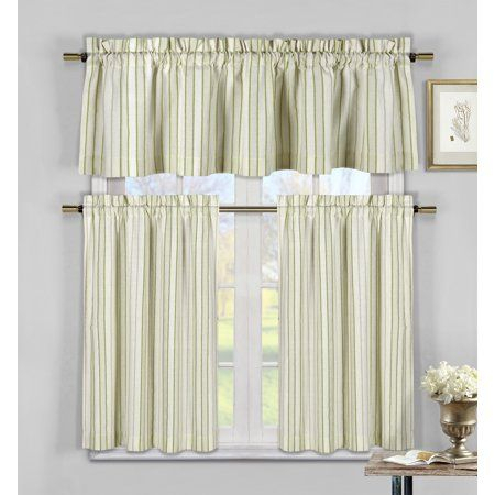 Xandra Stripe Kitchen Curtain 3 Piece Set 58 In (#50 of 50)