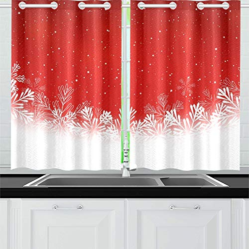 Xingchenss Christmas Snowflakes On Red Kitchen Curtains Window Curtain Tiers For Café, Bath, Laundry, Living Room Bedroom 26 X 39 Inch 2 Pieces Inside Kitchen Curtain Tiers (View 24 of 50)