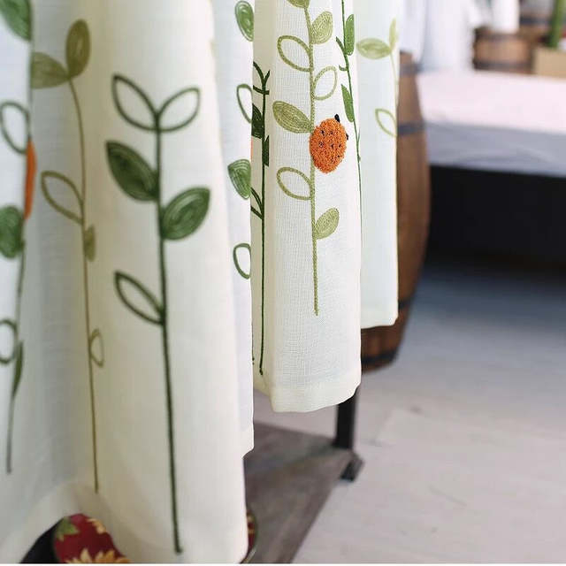 Xyzls Pastoral Style Ladybugs Embroidered Kitchen Half Curtain Kitchen  Curtain Cafe Short Panel Curtain 1 Piece For Embroidered Ladybugs Window Curtain Pieces (View 46 of 50)