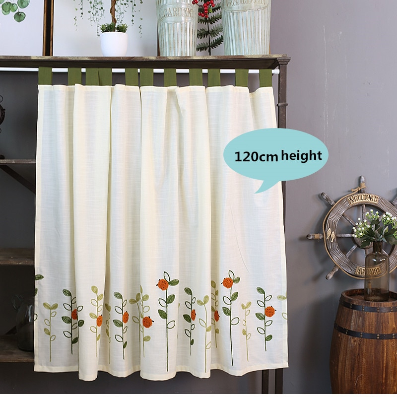 Xyzls Pastoral Style Ladybugs Embroidered Kitchen Half Curtain Kitchen  Curtain Cafe Short Panel Curtain 1 Piece Inside Embroidered Ladybugs Window Curtain Pieces (View 47 of 50)