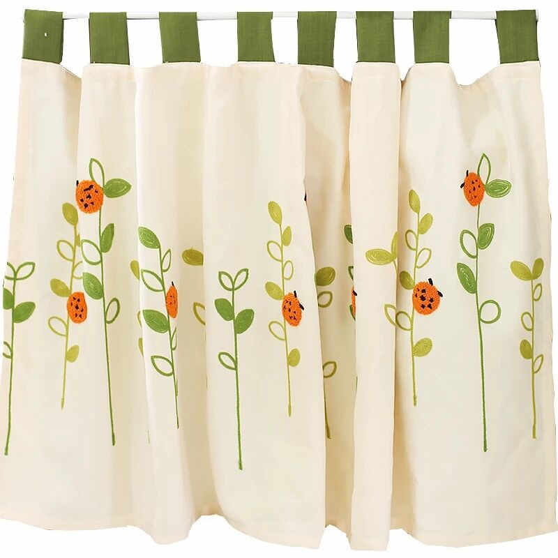 Xyzls Pastoral Style Ladybugs Embroidered Kitchen Half Curtain Kitchen  Curtain Cafe Short Panel Curtain 1 Piece Within Embroidered Ladybugs Window Curtain Pieces (View 48 of 50)