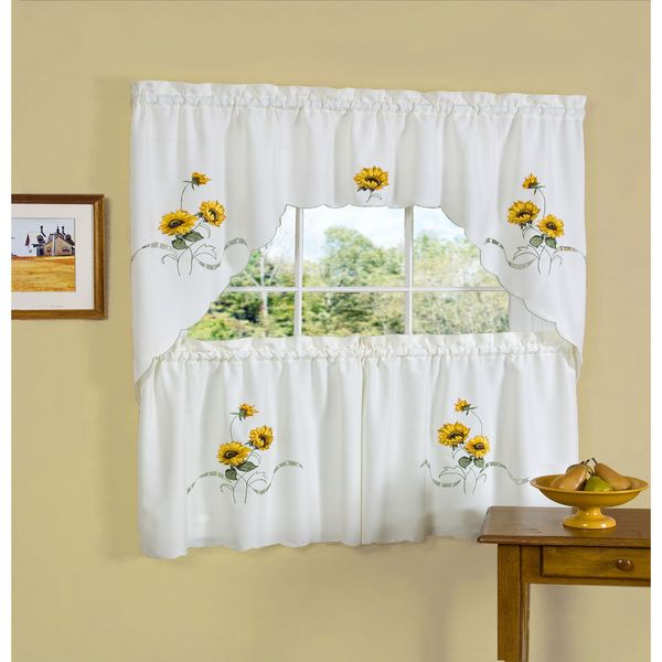 Yellow Achim Home Furnishings Lemon Drop Tier And Valance Regarding Lemon Drop Tier And Valance Window Curtain Sets (#28 of 30)