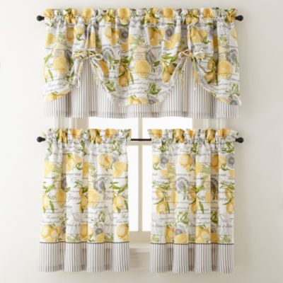 Yellow Achim Home Furnishings Lemon Drop Tier And Valance With Regard To Lemon Drop Tier And Valance Window Curtain Sets (#29 of 30)
