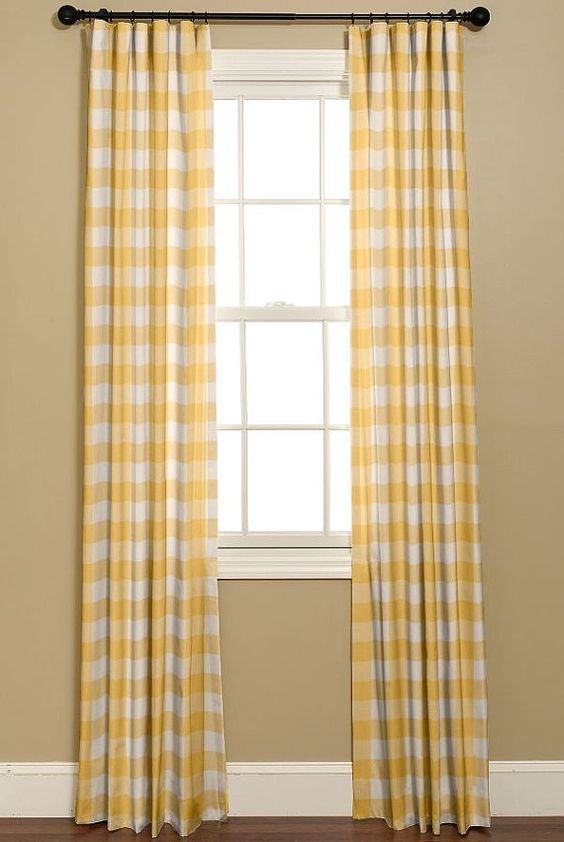 Yellow And White Buffalo Check Curtains (View 29 of 30)