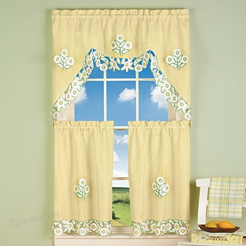 Yellow Embroidered Daisy Rod Pocket 3 Piece Kitchen Cafe For Coffee Embroidered Kitchen Curtain Tier Sets (View 30 of 30)