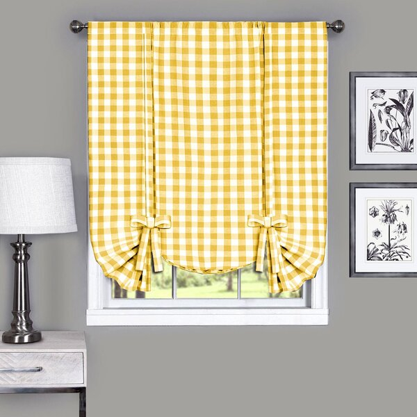 Yellow Gingham Curtains | Wayfair With Cumberland Tier Pair Rod Pocket Cotton Buffalo Check Kitchen Curtains (View 30 of 30)
