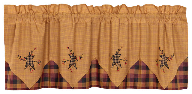 Yellow Primitive Kitchen Curtains Settlement Star And Pip Valance Rod Pocket Inside Primitive Kitchen Curtains (#30 of 30)