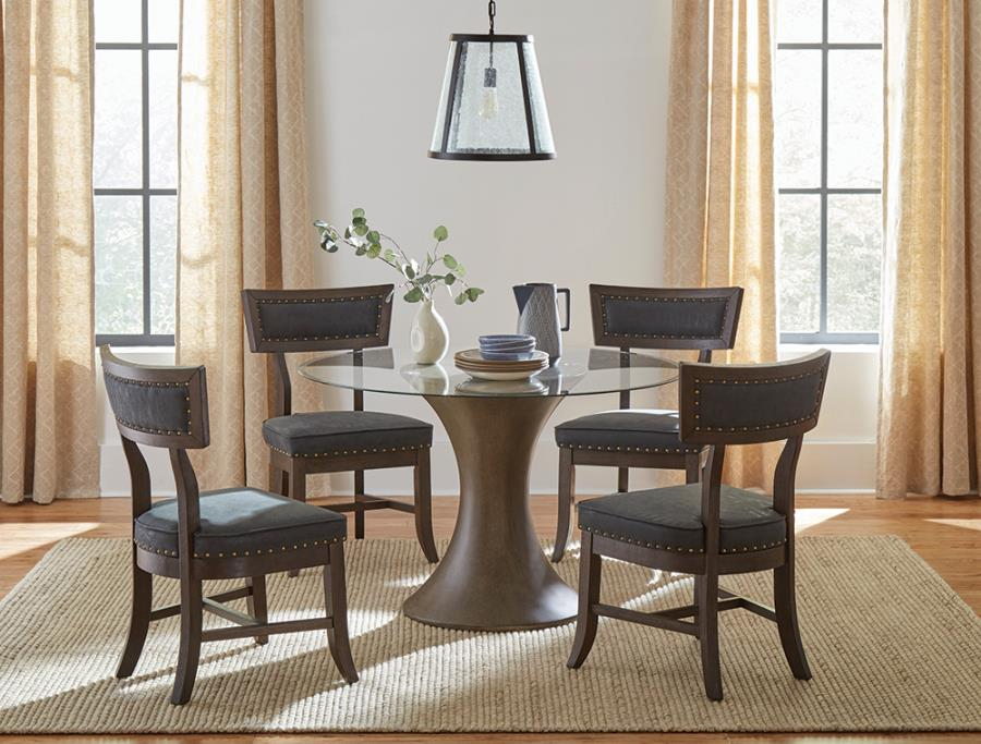 """109310 5 Pc Wildon Home Cullman Bronze Finish Wood 48"""" Round Glass Top Dining Table Set With Regard To Current Round Glass Top Dining Tables (View 16 of 20)"""