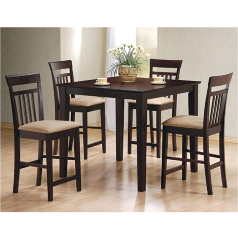 150041 Coaster Furniture Moreland – Cappuccino 5pc Counter Height Dining Table/chair Set With Preferred Cappuccino Finish Wood Classic Casual Dining Tables (View 11 of 20)