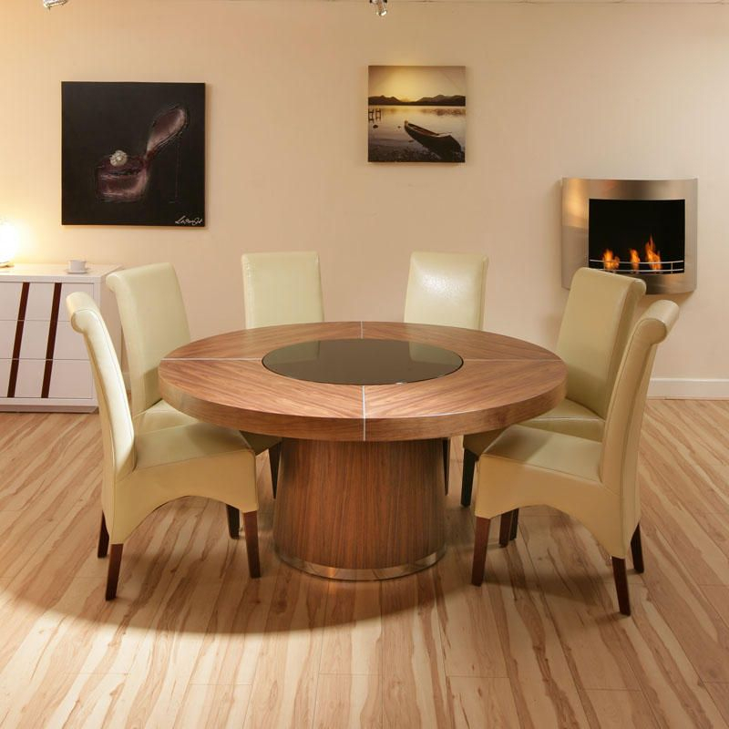 160cm D Seats 8 10 Large Round Walnut Dining Table, Black Intended For Well Liked Elegance Large Round Dining Tables (View 4 of 20)