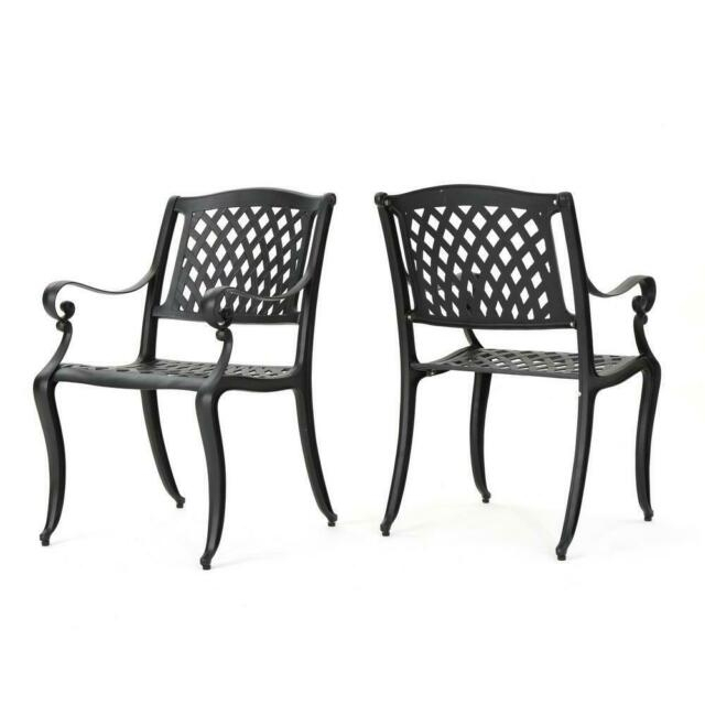 2 Pack Outdoor Dining Chair Cast Aluminum Backyard Patio Garden Furniture Black For Black Outdoor Durable Steel Frame Patio Swing Glider Bench Chairs (View 16 of 20)