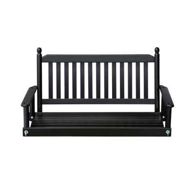 2 Person Black Porch Swing In Casualthames Black Wood Porch Swings (View 2 of 20)