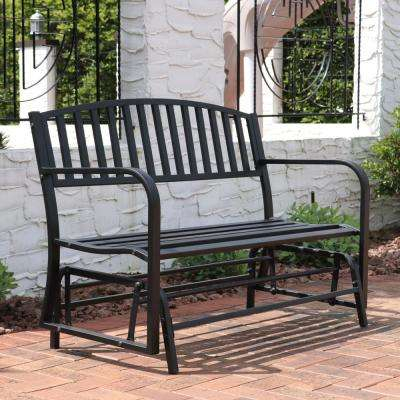 2 Person Black Steel Outdoor Glider Bench Within 2 Person Antique Black Iron Outdoor Gliders (#1 of 20)