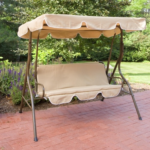Inspiration about 2 Person Canopy Swing Loveseat Outdoor Porch Patio Chair Furniture Intended For 2 Person Adjustable Tilt Canopy Patio Loveseat Porch Swings (#2 of 20)