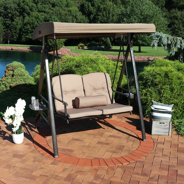 2 Person Canopy Swing | Wayfair Regarding 2 Person Loveseat Chair Patio Porch Swings With Rocker (View 17 of 20)