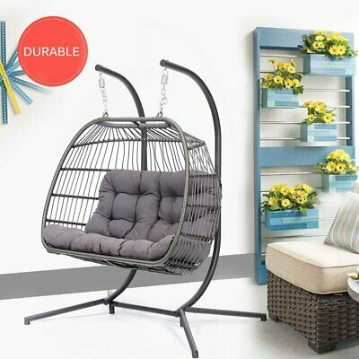 2 Person Egg Hanging Patio Chair Outdoor Swing Balck Resin Regarding 2 Person Gray Steel Outdoor Swings (#1 of 20)