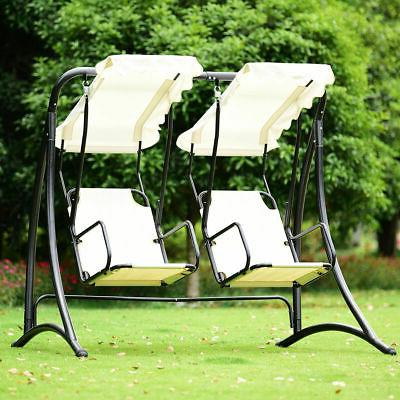 Popular Photo of 2 Person Hammock Porch Swing Patio Outdoor Hanging Loveseat Canopy Glider Swings