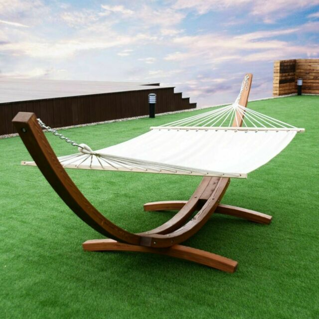 2 Person Hanging Quilted Hammock With Stand Wooden Arc Swing Chair Outdoor Set Throughout 2 Person Black Wood Outdoor Swings (View 8 of 20)