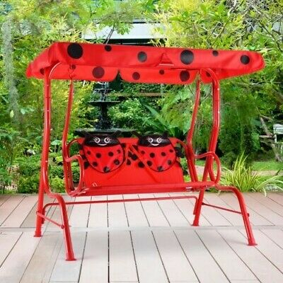 2 Person Kids Childrens Ladybug Patio Swing Porch Bench With Canopy 6940350840212 | Ebay In 2 Person Hammered Bronze Iron Outdoor Swings (View 16 of 20)
