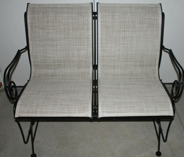 2 Person Love Seat Porch Patio Wrought Iron Glider Beige & Black *local Pu Only* In 2 Person Black Wood Outdoor Swings (View 14 of 20)