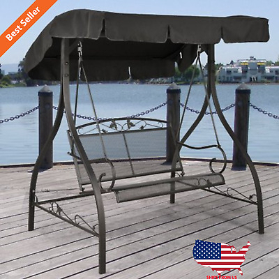2 Person Outdoor Canopy Porch Swing Iron Durable Adjustable Throughout 2 Person Gray Steel Outdoor Swings (#2 of 20)