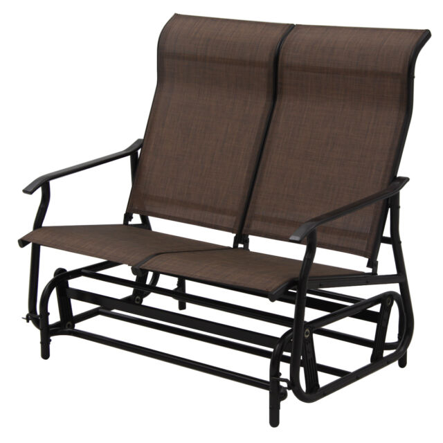 2 Person Patio Glider Rocking Bench Double Chair Loveseat Armchair Garden  Tan Intended For Iron Double Patio Glider Benches (View 1 of 20)