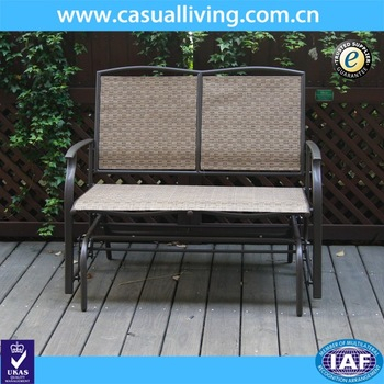 Inspiration about 2 Seater Cast Aluminum Rocking Chair Loveseat Glider Bench In Sling Fabric Seat& Back For Patio/outdoor Garden Bench – Buy Glider Bench,outdoor Garden Within Rocking Glider Benches (#10 of 20)