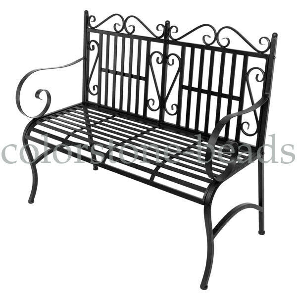 2 Seater Foldable Chair Outdoor Patio Bench Porch Seat Garden Pertaining To 2 Person Antique Black Iron Outdoor Gliders (#2 of 20)